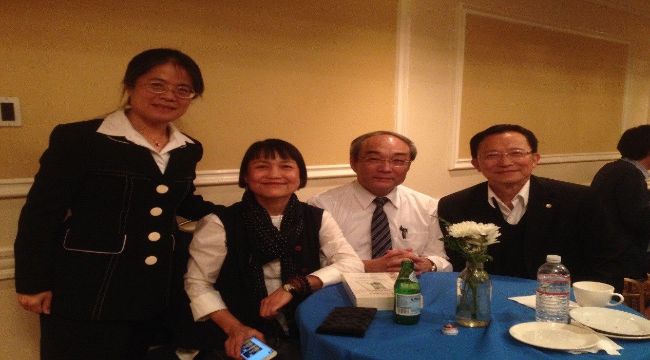 2015-03-13 Reception Mary Liang (TECO LA), Hui-shu Lee (UCLA), Wang Fan-sen (Academia Sinica), and Frank Chang (UCLA) at the reception following the launch event for the Taiwan Studies Lectureship (March 2015).
